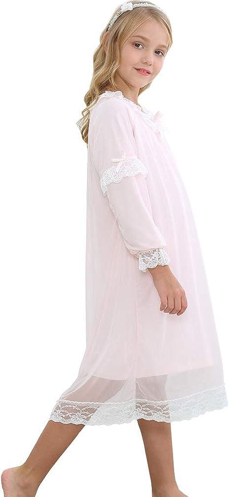 Flwydran Nachthemden f/ür M/ädchen,Langarm Retro Nachthemd Rosa Nachthemd 3-12 Jahre