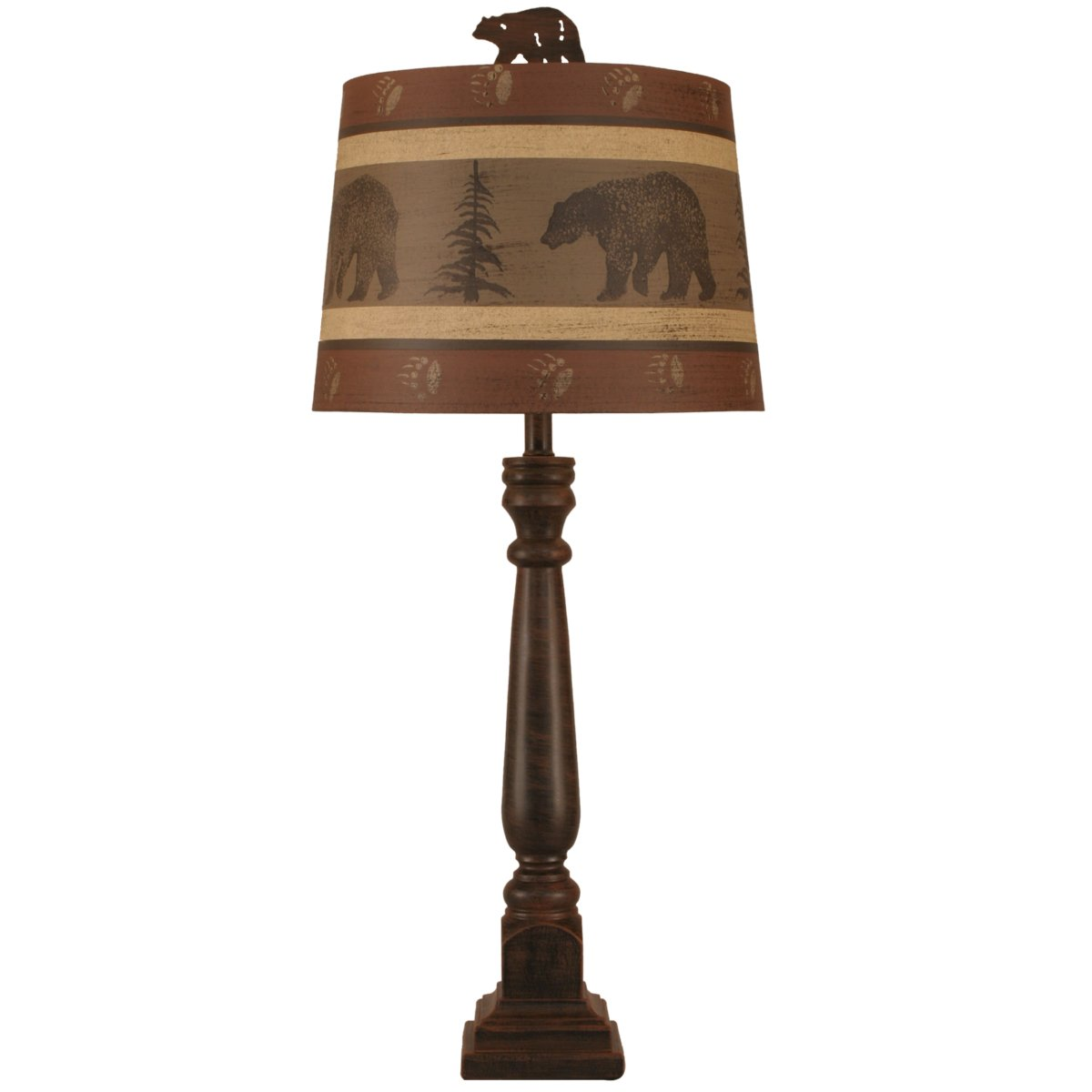 Rusted Steel Buffet Lamp with Bear & Tree Shade