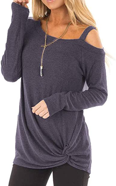 Camiseta Manga Larga de Mujer Elegante Moda Blusa Hombro sin Tirantes Color sólido Camisa Basica Camiseta Otoño Tops Casual Fiesta T-Shirt Original Chaqueta vpass: Amazon.es: Ropa y accesorios