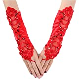 Formal Women Sexy Long Fingerless Beaded Satin Bride Gloves Evening Party Red