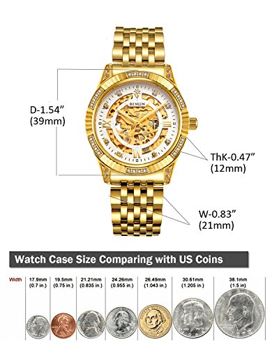 BINLUN Men's Gold Automatic Luxury Skeleton Watches Gift to Father by BINLUN (Image #5)
