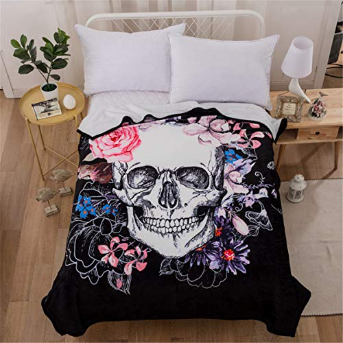 WONGS BEDDING Soft Skull Throw Blanket Twin Floral White Skull Pattern Printed Flannel Blanket Reversible Throw Blanket for Couch and Bed Travel Camping 60