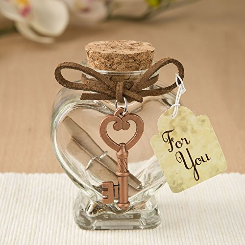 (Fashioncraft Glass heart message Jar with copper metal key accent )