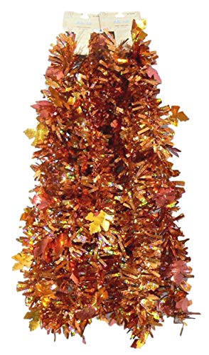 9' Autumn Fall Leaf Tinsel Garland - 2 pc 18 Total Feet (Copper) by Hello Fall