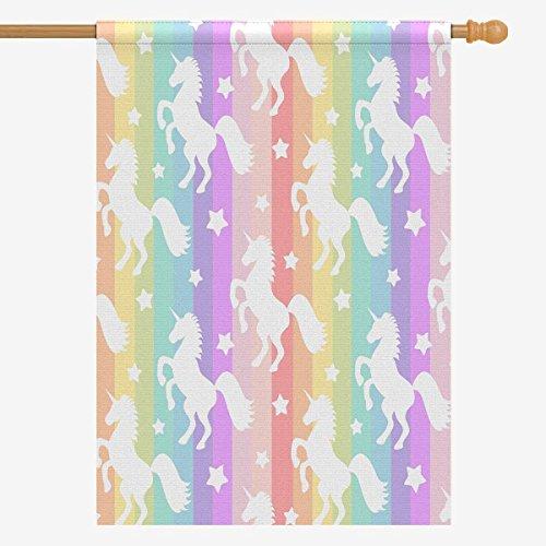 InterestPrint Rainbow Colorful Stripes with Unicorns Silhoue