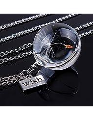 Heroneo Charm Dandelion Seeds Bottle Pendant Glass Ball Necklace