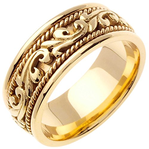 18K-Gold-Floral-Paisley-Mens-Comfort-Fit-Wedding-Band-9mm