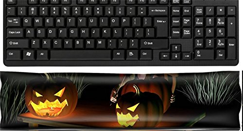 Liili Keyboard Wrist Rest Pad Office Decor Wrist Supporter Pillow IMAGE ID 32913908 Little goblin carving spooky Halloween pumpkin lanterns with dark Halloween background 3d -
