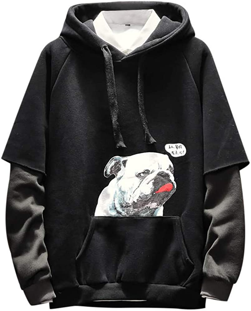 XCeihe 2019 Fashion New Hoodies for Men Puppy Pattern Print Loose Pullover Fake Two-Piece Hooded Sweatshirt Tops