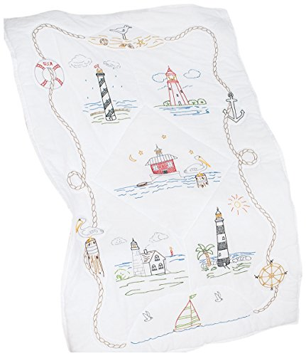- Jack Dempsey Stamped White Lap Quilt Top, 40 by 60-Inch, Lighthouses