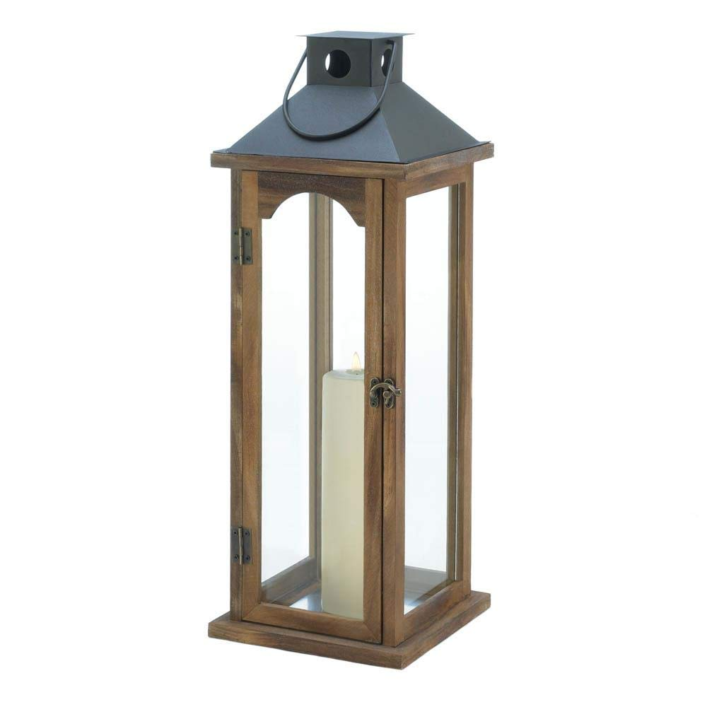 Gallery of Light Wood Candle Lantern with Metal Pyramid Top - 22 inches