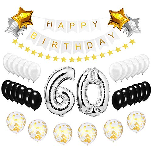 Best Happy to 60th Birthday Balloons Set - High Quality Birthday Theme Decorations for Fabulous 60 Years Old Party Supplies Silver Black Gold]()