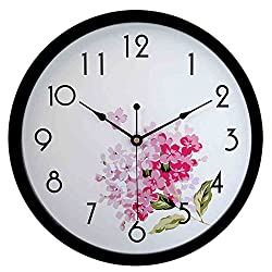 hito Silent Floral Wall Clock Non Ticking 10 inch Excellent Accurate Sweep Movement Glass Cover, Decorative for Kitchen, Living Room, Bathroom, Bedroom, Office (fl1 Black)