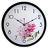 hito Silent Floral Wall Clock Non Ticking 10 inch Excellent Accurate Sweep Movement Glass Cover, Decorative for Kitchen, Living Room, Bathroom, Bedroom, Office (fl1 Black) Review