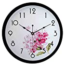 HITO Modern Colorful Floral Silent Non-ticking Wall Clock- 10 Inches (fl1 black)