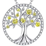Christmas Gift Tree of Life November December Birthstone Necklace Created Citrine Jewelry Sterling Silver Birthday Gift for her
