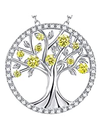 November Birthstone The Tree of Life Jewelry Created Citrine Necklace Birthday Gift for Her Sterling Silver