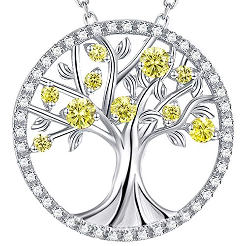 Fine Jewelry Tree of Life Necklace for Women Sterling Silver LC Yellow Citrine Necklace Birthday Gifts for Mom Wife Love Family