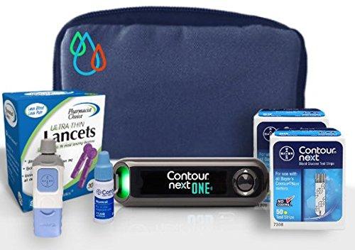 Raindrop USA - Contour NEXT ONE Complete Diabetes Blood Glucose Testing Kit: METER, Test Strips, Lancets, Lancing Device, Control Solution, & Carry Case (110 Test Strips, 110 Lancets)