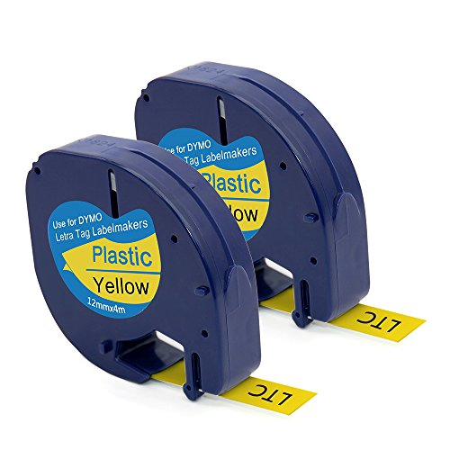 MARKLIFE Label Tape Compatible with Dymo LetraTag Label Makers, Black on Yellow, 2 Packs