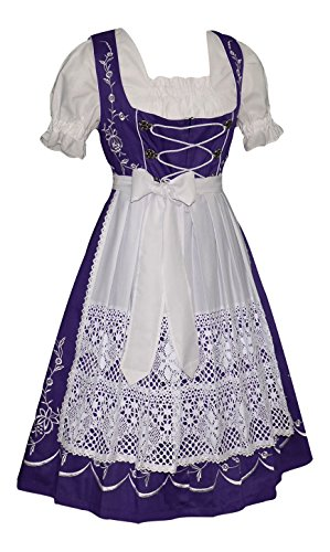 [Dirndl Trachten Haus 3-piece Long German Party Oktoberfest Waitress Dress (14)] (Dirndl Costume)