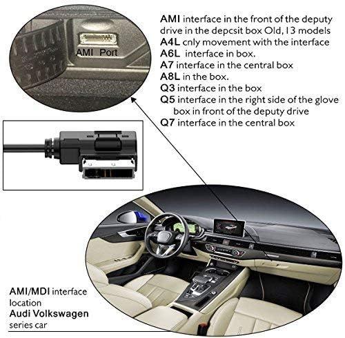 アップグレードバージョン USB充電ケーブル Audi AMI MMI USB ケーブル オーディオ MP3 音楽インターフェースアダプター USBドライブ データ同期 転送 & 充電 Audi VW Jetta GTI GLI Passat CC Tiguan Touareg EOS用
