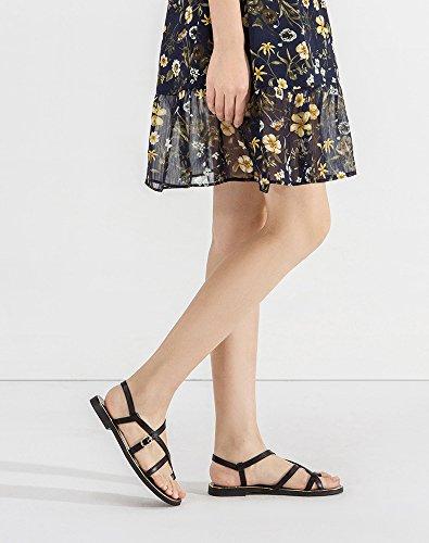 basso donna tacco Nero con basso alti Sandali alla Sandali piatti Tacchi Sandali 38 estivi moda da Pantofole DHG a tacco casual nIO7BxAqx