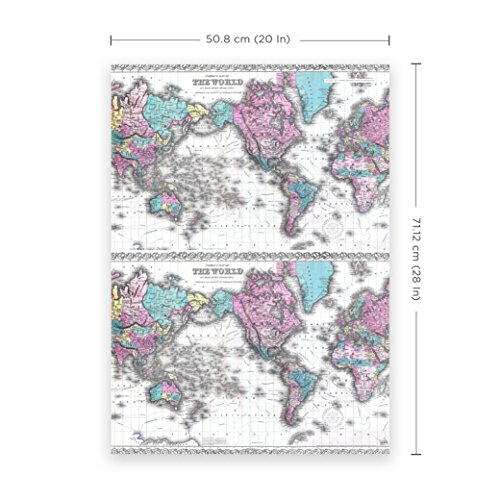 Vintage Map of the World Wrapping Paper - Premium 28''X20'' 5-Sheet Gift Wrap Per Pack. Spectacular Colton 1855 Edition. Unique, Strong & Recyclable - From Journo Travel. (2 STYLES AVAILABLE) by Journo (Image #2)