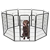 PetPremium Dog Pen Metal Fence Gate Portable Outdoor RV Play Yard | Heavy Duty Outside Pet Large Playpen Exercise | Indoor Puppy Kennel Cage Crate Enclosures | 40″ Height 8 Panel Review
