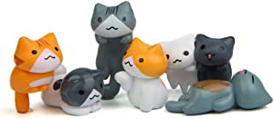 6 Pcs Miniature Lucky Cat Figurines, Cute Cat Toys Figures DIY Crafts for Fairy Garden Decoration Home Decor Cake Toppers