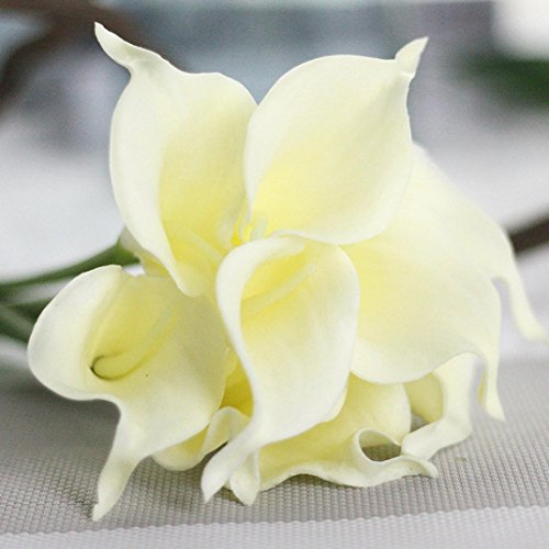 Inverlee 5Pcs Artificial Flowers Rose Floral Fake Flowers Wedding Bridal Bouquet DIY Home Garden Decor - Lily Orchid Calla Bouquet