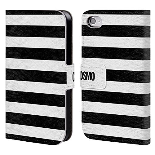 Official Cosmopolitan Black Stripes Collection Leather Book Wallet Case Cover For Apple iPhone 4 / 4S