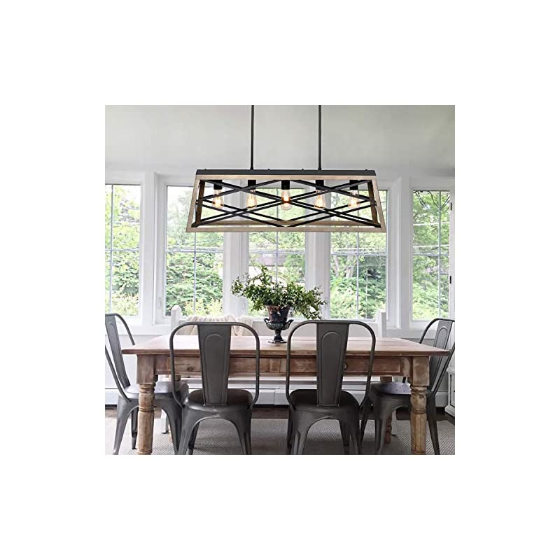 Hykolity 5-Light Kitchen Island Pendant Lighting, Farmhouse Dining Room Light Fixtures, 35 inch Linear Chandelier with…