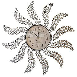 Beautiful Large Wall Clocks Handmade Stylish Wall Clock with Crystals 2959(Sunburst 2) (Windmill Clock)