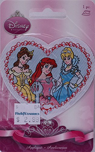 Wrights Disney Princesses Belle Ariel Cinderella Iron-On Applique Badge Appliques 3W x 2.75H inches - Iron Disney On Princess