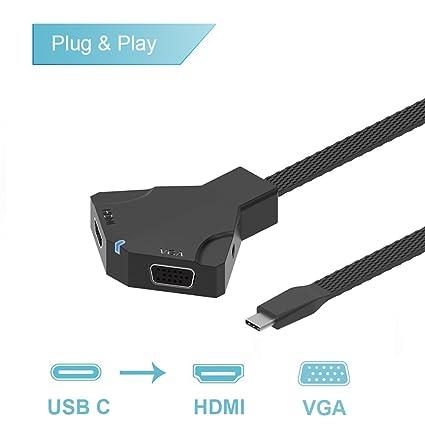 Adaptador USB C a HDMI VGA, Adaptador Onten Tipo C a HDMI VGA con ...