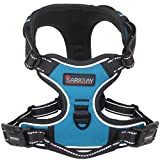 Dog Harness No-Pull Pet Harness Adjustable Outdoor Pet Vest 3M Reflective Oxford Material Vest for Dogs Easy Control for Small Medium Large Blue Dogs (M)