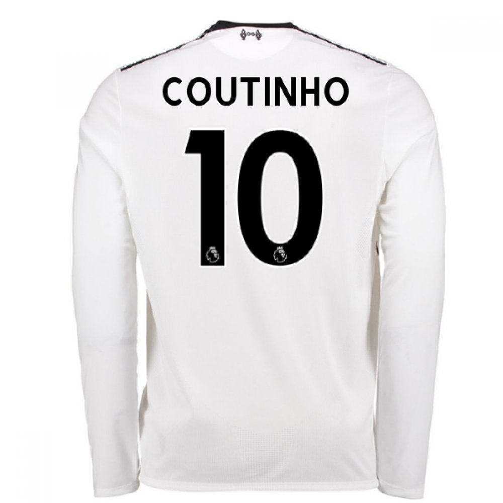 2017-18 Liverpool Away Long Sleeve Shirt (Coutinho 10) Kids B077PRXFNKWhite SB 26-27\