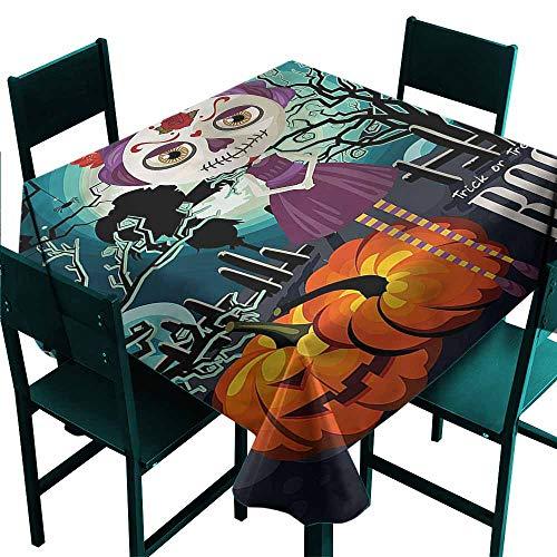 DONEECKL Antifouling Tablecloth Halloween Girl Sugar Skull Makeup and Durable W50 -