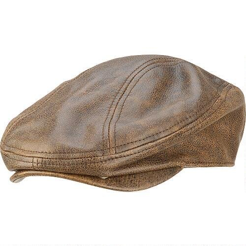 Cap Leather Driving (Wilsons Leather Mens Distressed Leather Driving Cap S Cognac)