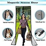 Reinforced Magnetic Screen Door Heavy Duty Mesh Curtain Fits Door Size 37 x 82-Inch Max Black
