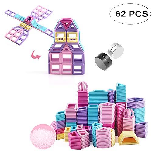 (Fashionsun Magnetic Building Blocks,Magnetic Designer Construction Set Model & Building Toy Plastic Magnetic Blocks Educational Toys for Kids Gift (62PCS))