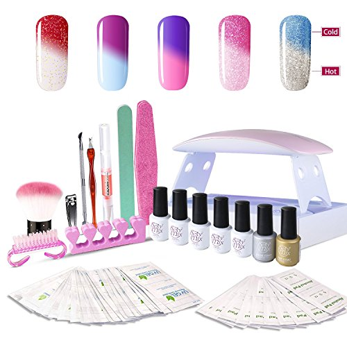 Manicure Gel Nails - Gel Nail Polish Starter Kit, with 6W UV LED Nail Dryer Manicure Tools 5 Color Changing Gel polish Top and Base Coat, Portable Kit for Travel