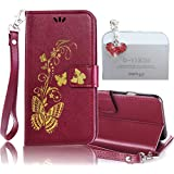 Samsung Galaxy S4 Case, Bonice 2 in 1 Accessory Bronzing Gold Butterfly PU Leather Wallet Case Flip Practical Book Style Magnetic Snap [Card Slots] [Hand Strip] Multi-Function Design Cover + Diamond Red Heart Antidust Plug, Dark Red