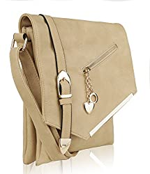 Mkf Crossbody Bag For Women ?��adjustable Strap Vegan Leather Tote Shoulder Handbag Messenger Purse Beige