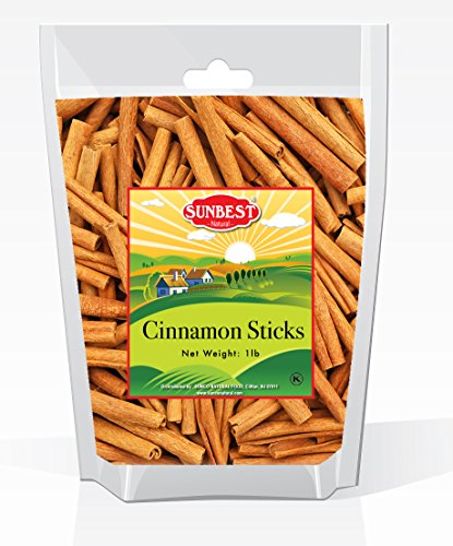 3' Cinnamon Sticks (Sunbest Whole Cinnamon Sticks , 3'' Inch Length in Resealable Bag , % 100 Raw From Indonesia -Non Gmo-Vegan &Kosher -16 Ounce (1 Lb))