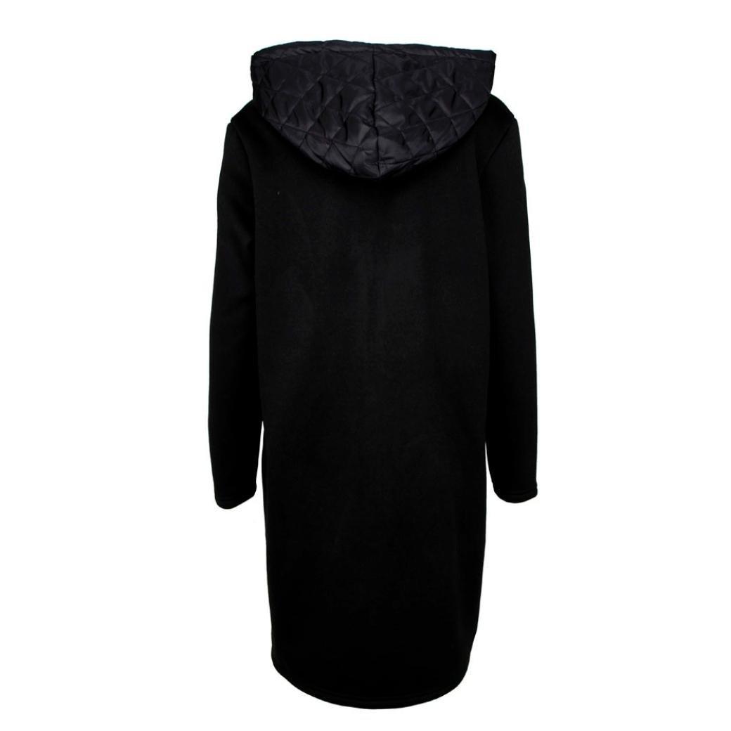 Kleidung Damen DAY.LIN Lange Ärmel Hoodie Mantel Jacke Windjacke Outwear Oben (S, Schwarz)