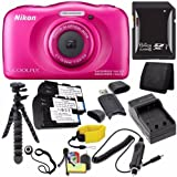 Nikon COOLPIX S33 Digital Camera (Pink) (International Model No Warranty) + EN-EL19 Battery + External Charger + 64GB SDXC Card + Floating Strap + Mini Flexible Tripod + Card Reader Saver Bundle
