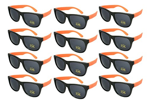 Edge I-Wear 12 Pack 80's Style Adult Neon Party Sunglasses Bridal Wedding Party Favors 5402R/OR-12 ()
