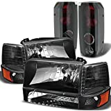 Xtune for 1992-1996 Ford F150/F250, Bronco Black Headlights Set + Mystery Black Tail Lights 1993 1994 1995